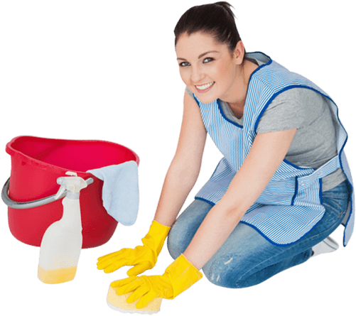 image of a girl cleaning